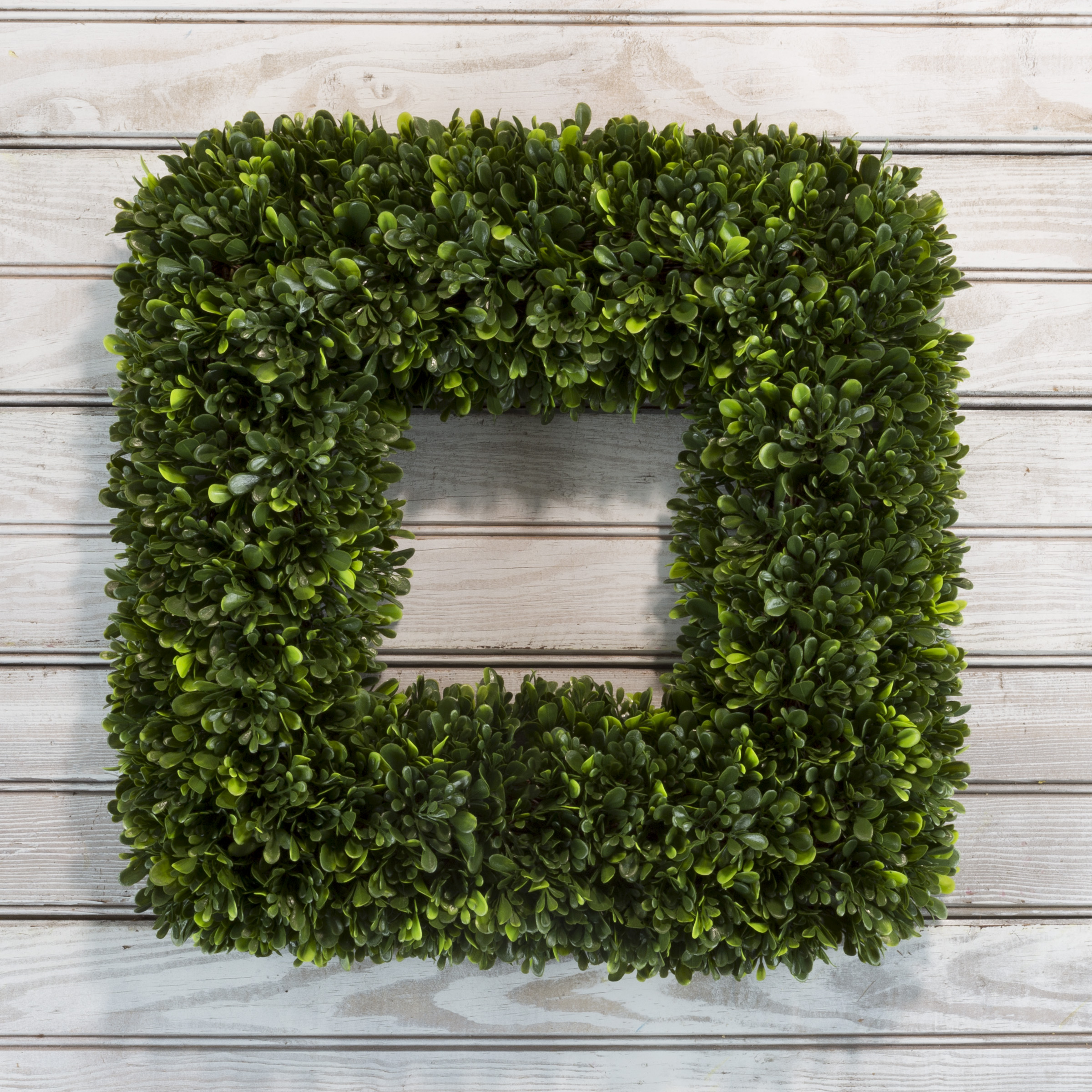 Artificial Tea Leaf Wreath With Grapevine Base Uv Resistant Greenery Square Slim Profile For Front Door Wall Decor By Pure Garden 17