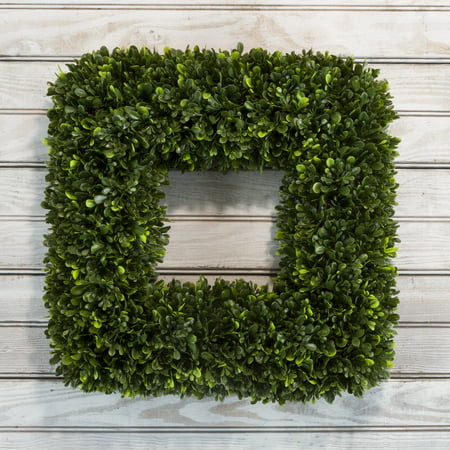 Artificial Tea Leaf Wreath with Grapevine Base- UV Resistant Greenery Square Wreath with Slim Profile for Front Door, Wall Decor by Pure Garden 17""