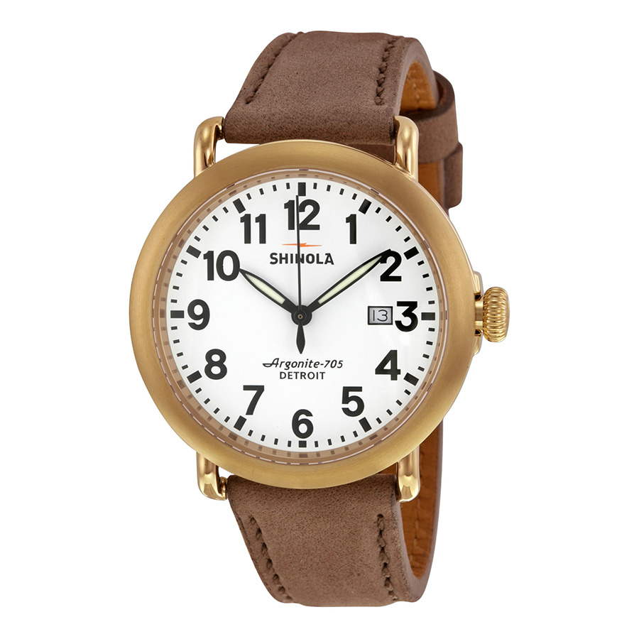 Shinola Runwell White Dial Heather Grey Leather Mens Watch 11000179