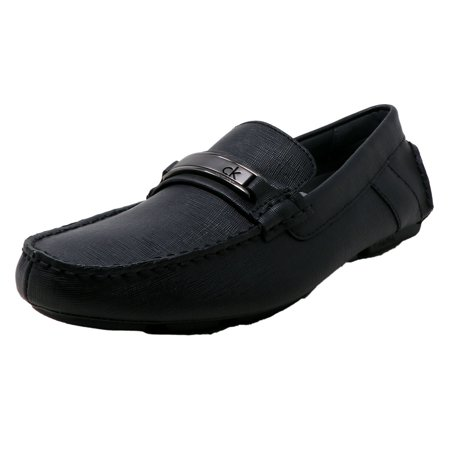 Calvin Klein Men's Marcell Weave Embossed Leather Black Ankle-High Loafers & Slip-On - 10.5M