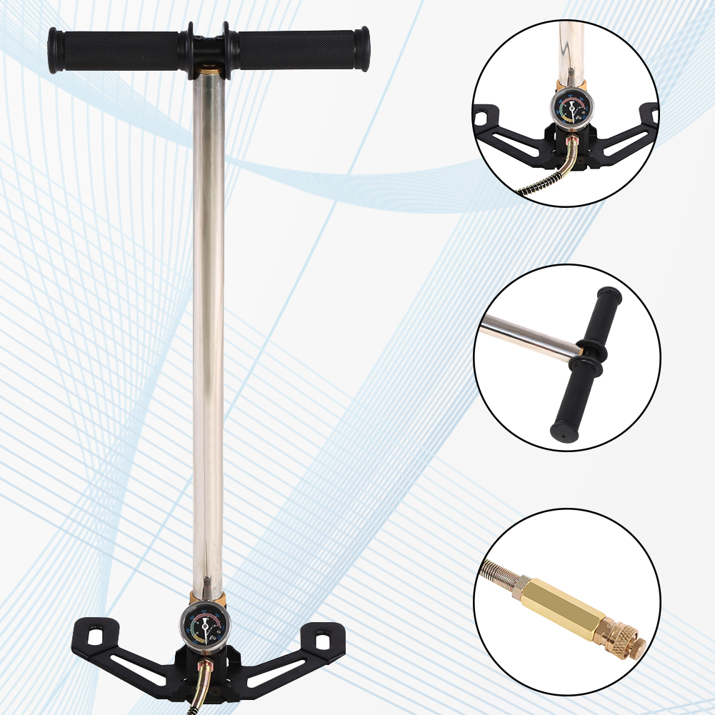 HURRISE PCP Hand Pump,New 3 Stage Air Rifle PCP Hand Pump Stirrup Charging Gas Filter Gauge Valve Hose