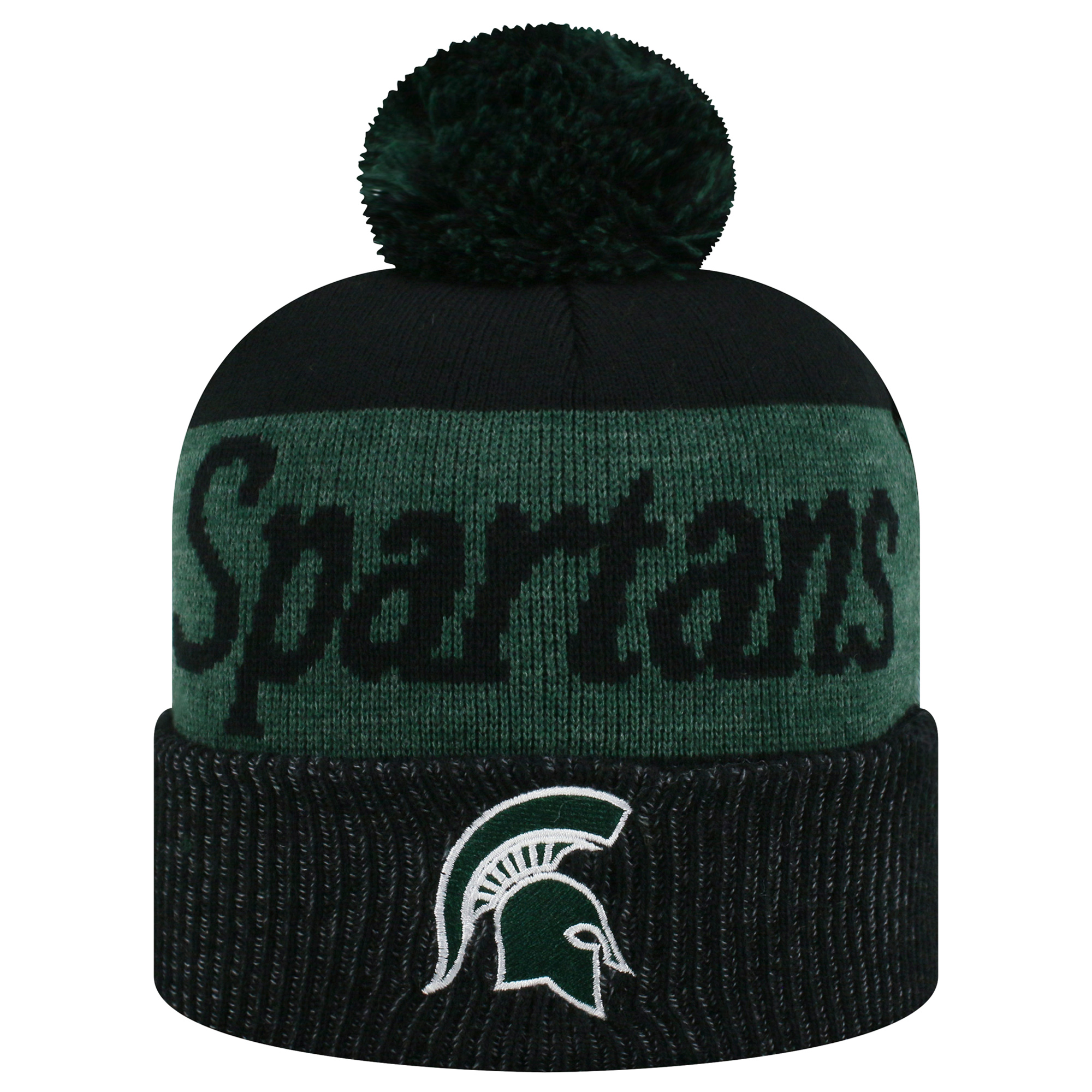 Women's Russell Green/Black Michigan State Spartans Frore Cuffed Knit Hat With Pom - OSFA