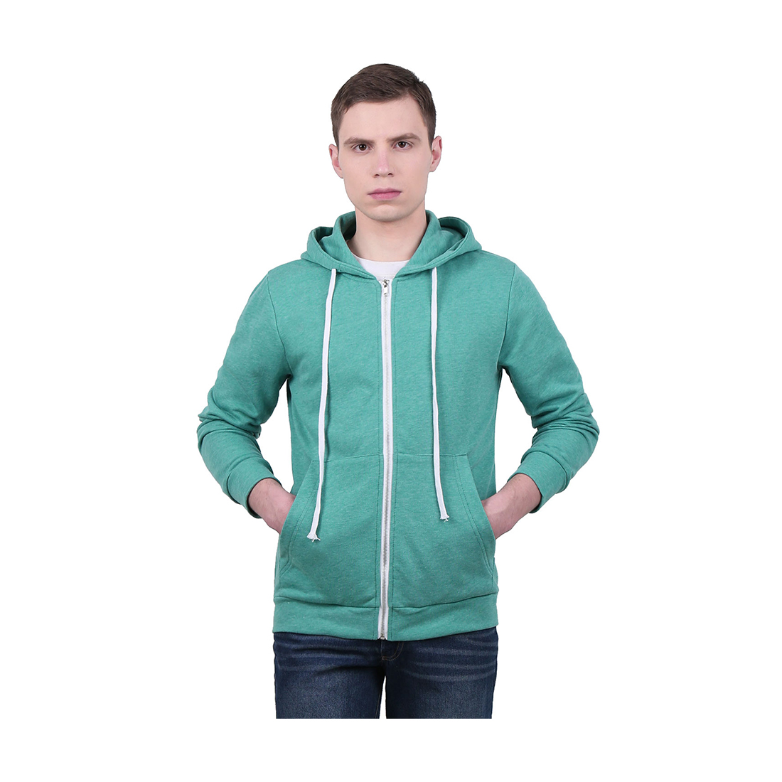 Unique Bargains Men's Long Sleeves Zip Up Kangaroo Pocket Casual Drawstring Hoodie Green (Size L / 42)
