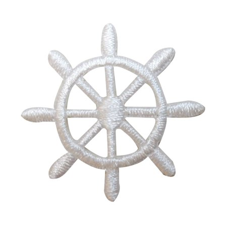 Wheels Patch - ID 2364A Ship Captain Steering Wheel Patch Boat Embroidered Iron On Applique