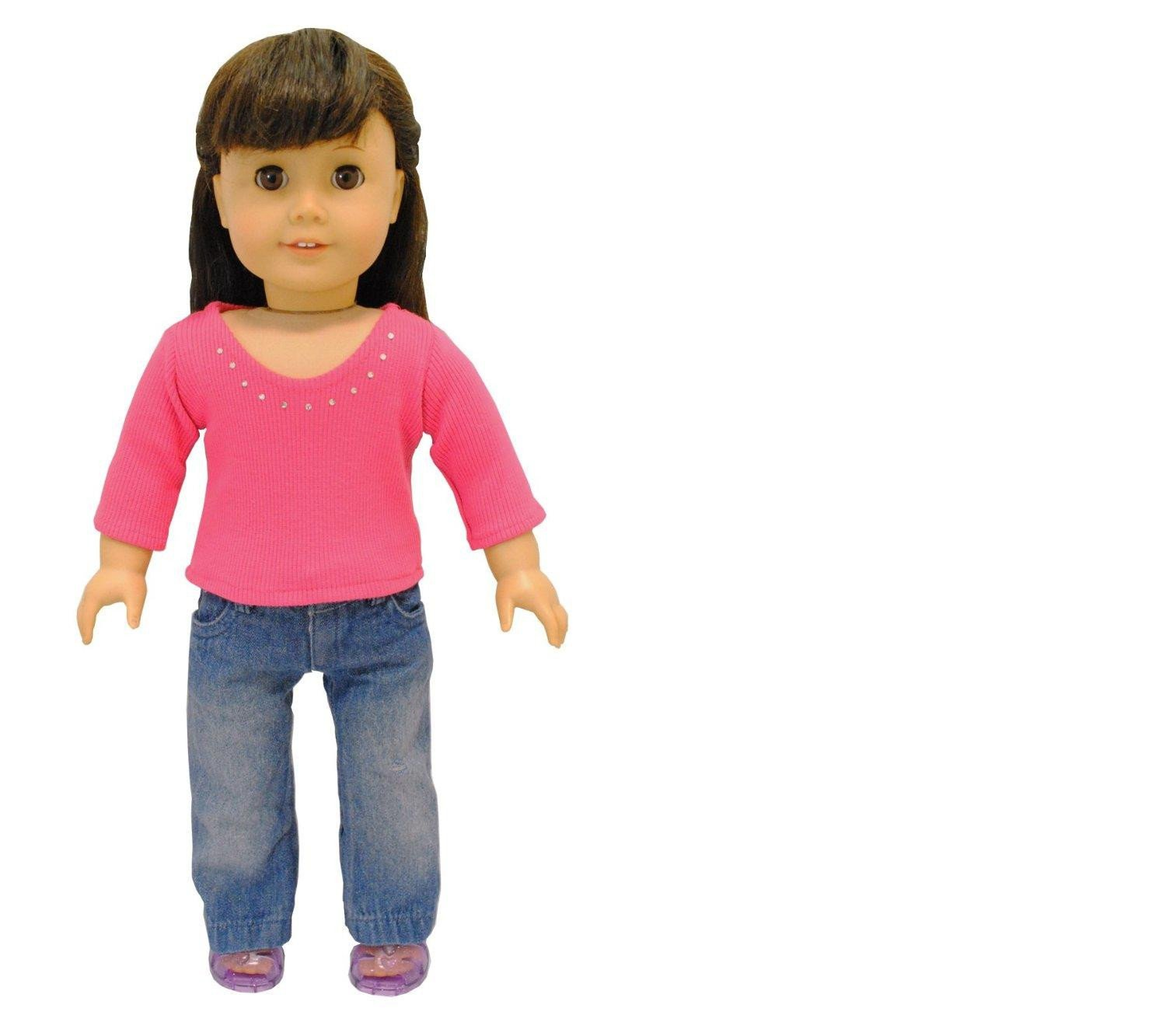 Doll Clothes 2 Piece Doll Clothing Set Fashion Jeans and Long Sleeve Shirt Fits American... by Pink Butterfly Closet
