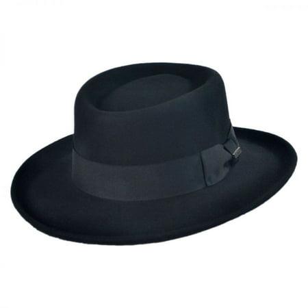 - Crushable Wool Felt Gambler Hat - XL - Black