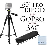 """60"""" Inch Pro Series Professional Camera Tripod Goes For All GoPro HERO Cameras, DLSR Digital Cameras and Camcorders + eCostConnection Microfiber Cloth"""