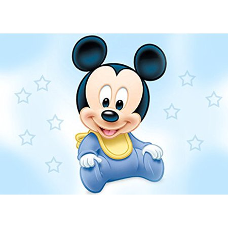 Baby Mickey Mouse Shower Edible Cake Topper Frosting 1/4 Sheet Birthday