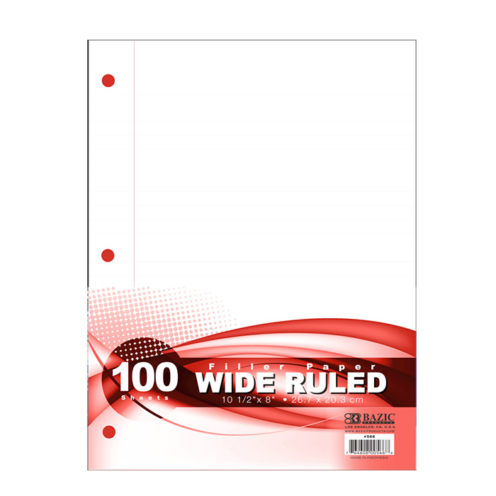BAZIC W/R 100 Ct. Filler Paper, Case of 36