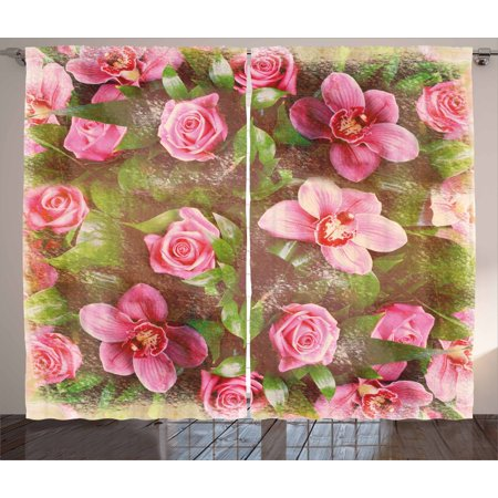 Shabby Chic Decor Curtains 2 Panels Set, Romantic Retro Floral Composition Grunge Wedding Corsage Art, Window Drapes for Living Room Bedroom, 108W X 84L Inches, Green Pink Light Pink, by Ambesonne