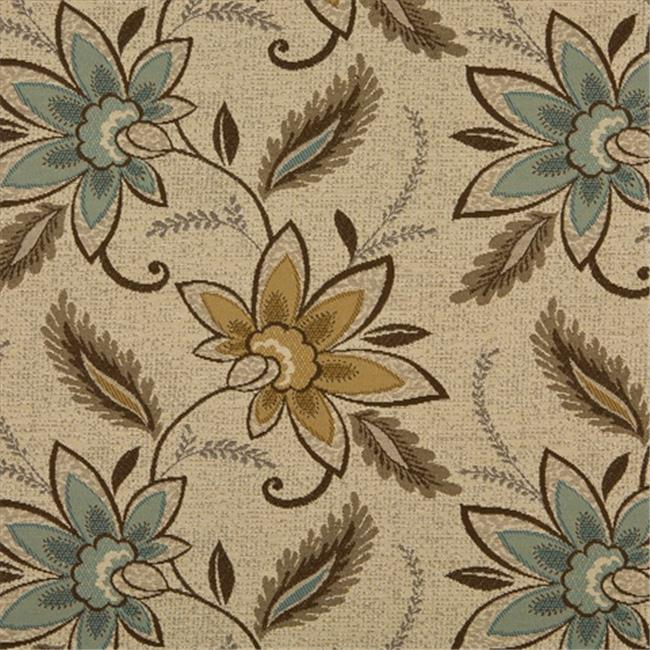 Designer Fabrics K0124A 54 in. Wide Beige, Brown And Teal Floral Vines Woven Solution Dyed Indoor & Outdoor Upholstery Fabric