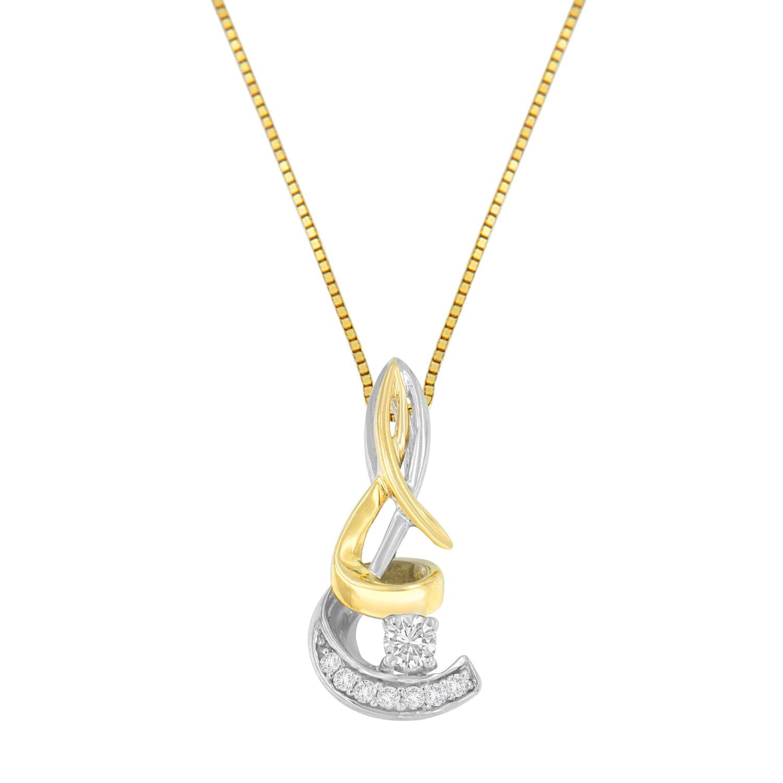 10K Two-Tone Gold 0.10ct. TDW Diamond Spiral Pendant Necklace (I-J, I1-I2)