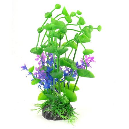 "Unique Bargains Ceramic Base Green Blue Fuchsia Water Plastic Plant 7.1"" Height for Fish Tank"