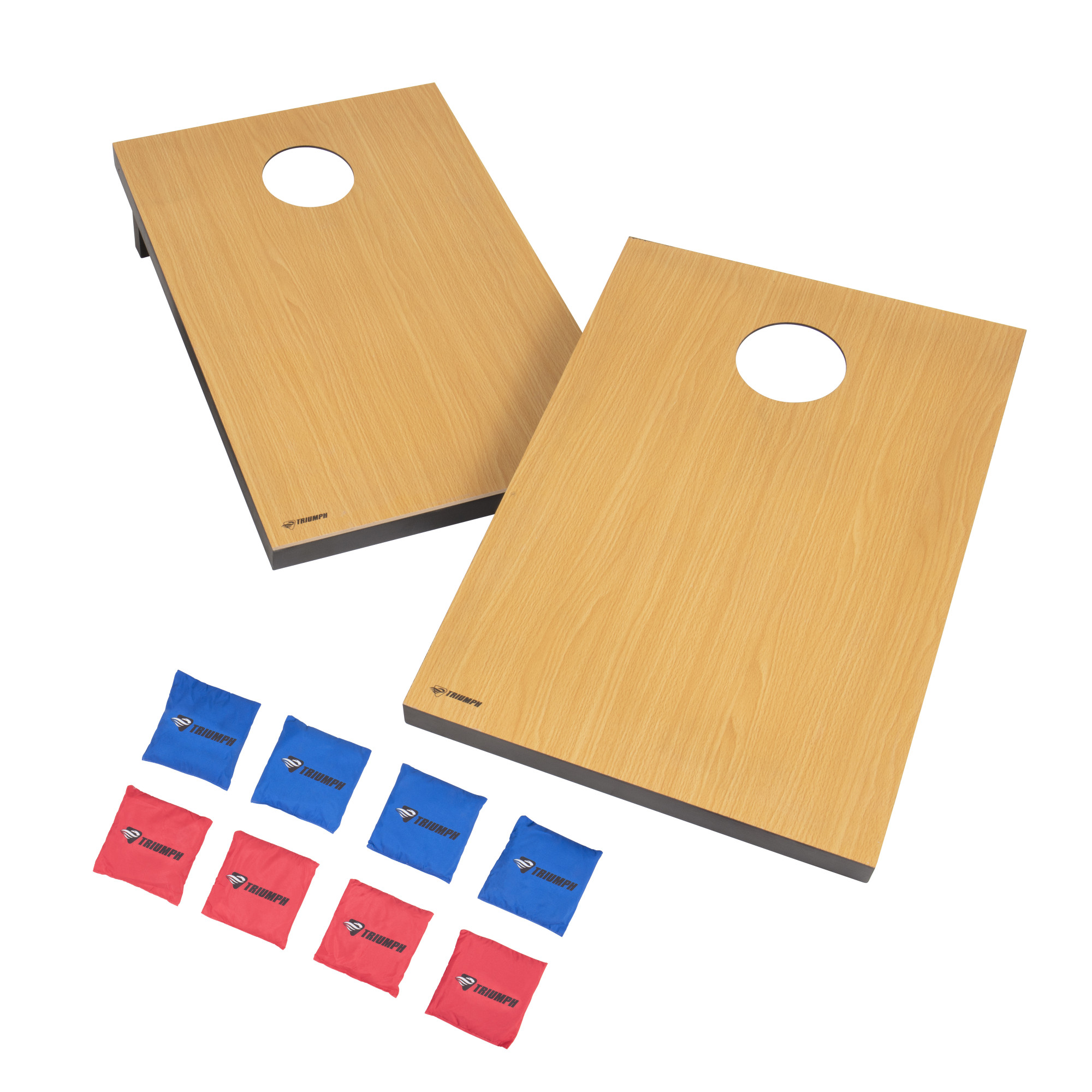 Triumph Tournament Bean Bag Toss Game with Two Wooden Portable Game Platforms on Foldable Legs and Eight Toss Bags