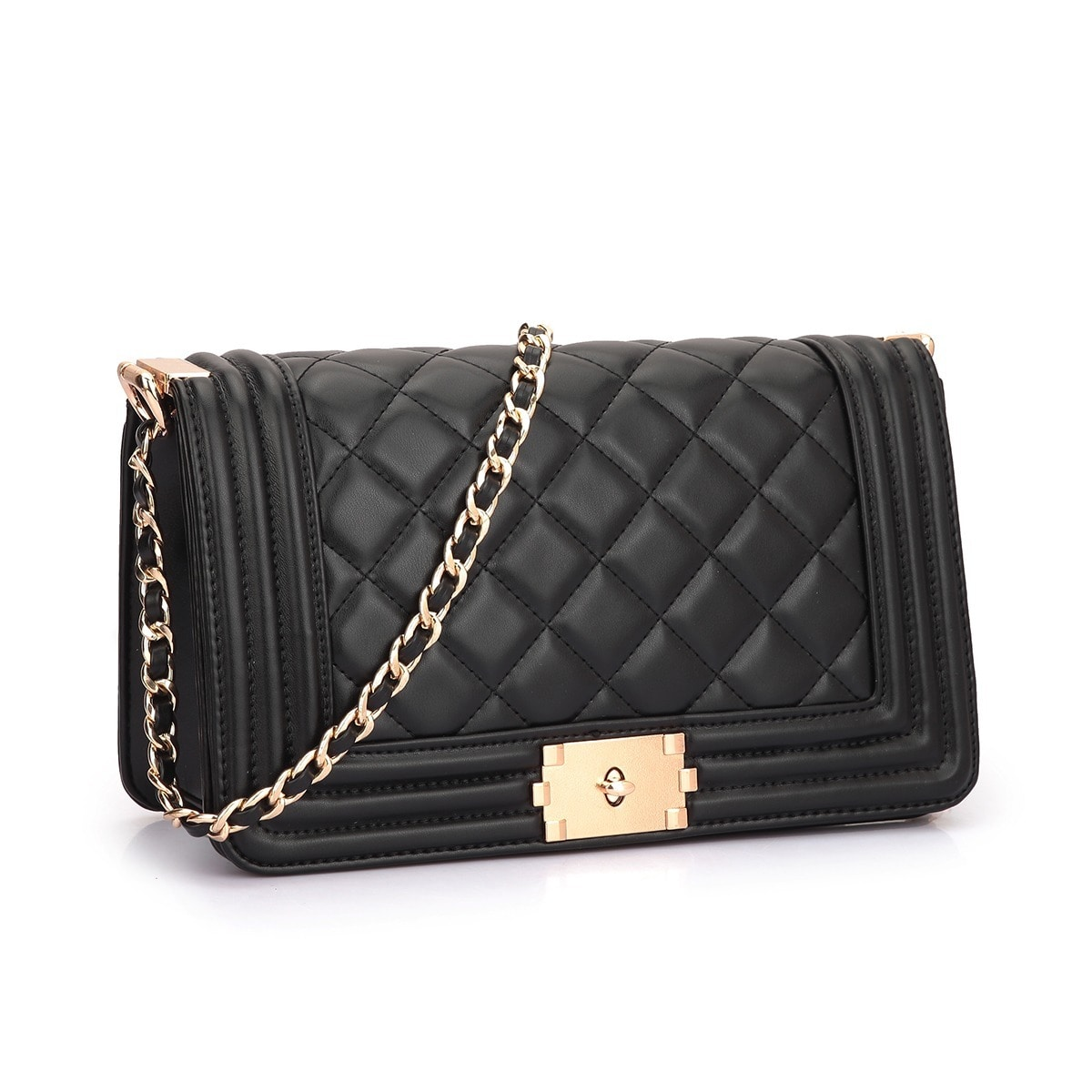 877ba59a39ed Dasein - Dasein Quilted Crossbody Bag with Intertwined Leather Goldtone  Chain Straps - Walmart.com