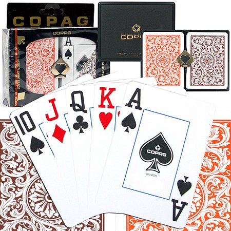 Trademark Poker Copag Poker Size Jumbo Index, 1546 Orange And Brown Setup