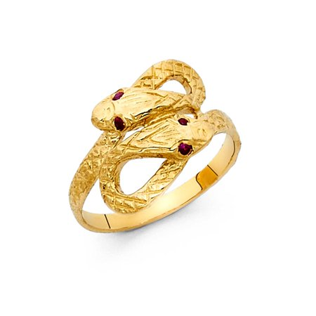 Gold Fancy Italian (Fancy Amethyst CZ Snake Eyes 14k Yellow Solid Italian Gold 15mm Double Head Ring Cocktail High Polish Band Ring Size 6.5 Available All Sizes )