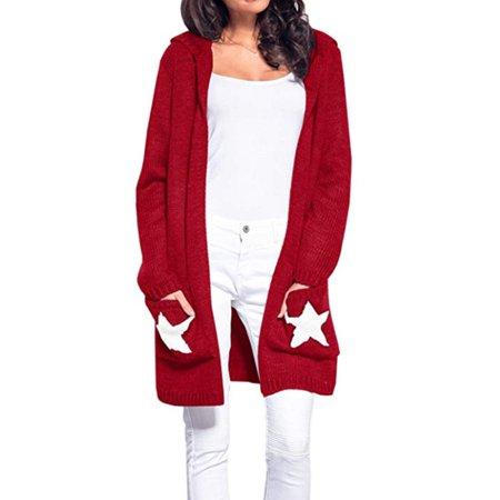 0c51bf35b3 Sexy Dance - Women Open Knitted Sweater Casual Long Sleeve Start Print Cardigan  Jacket Hooded Coat Top Knitwear Long Sleeve - Walmart.com