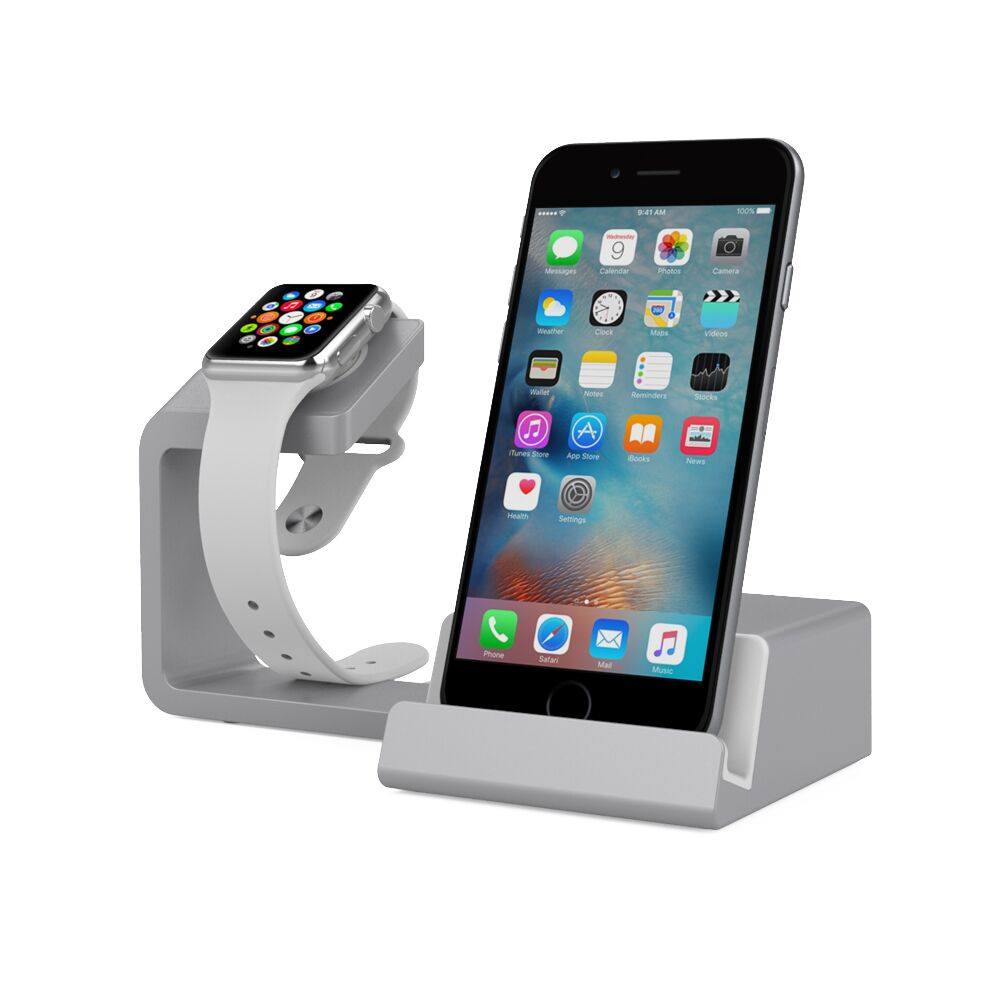Element Works 2 in 1 Apple Watch Stand Charging Dock With Cell Phone Charging Stand | Charging Station Dock for Apple Watch & iPhone ( Black )