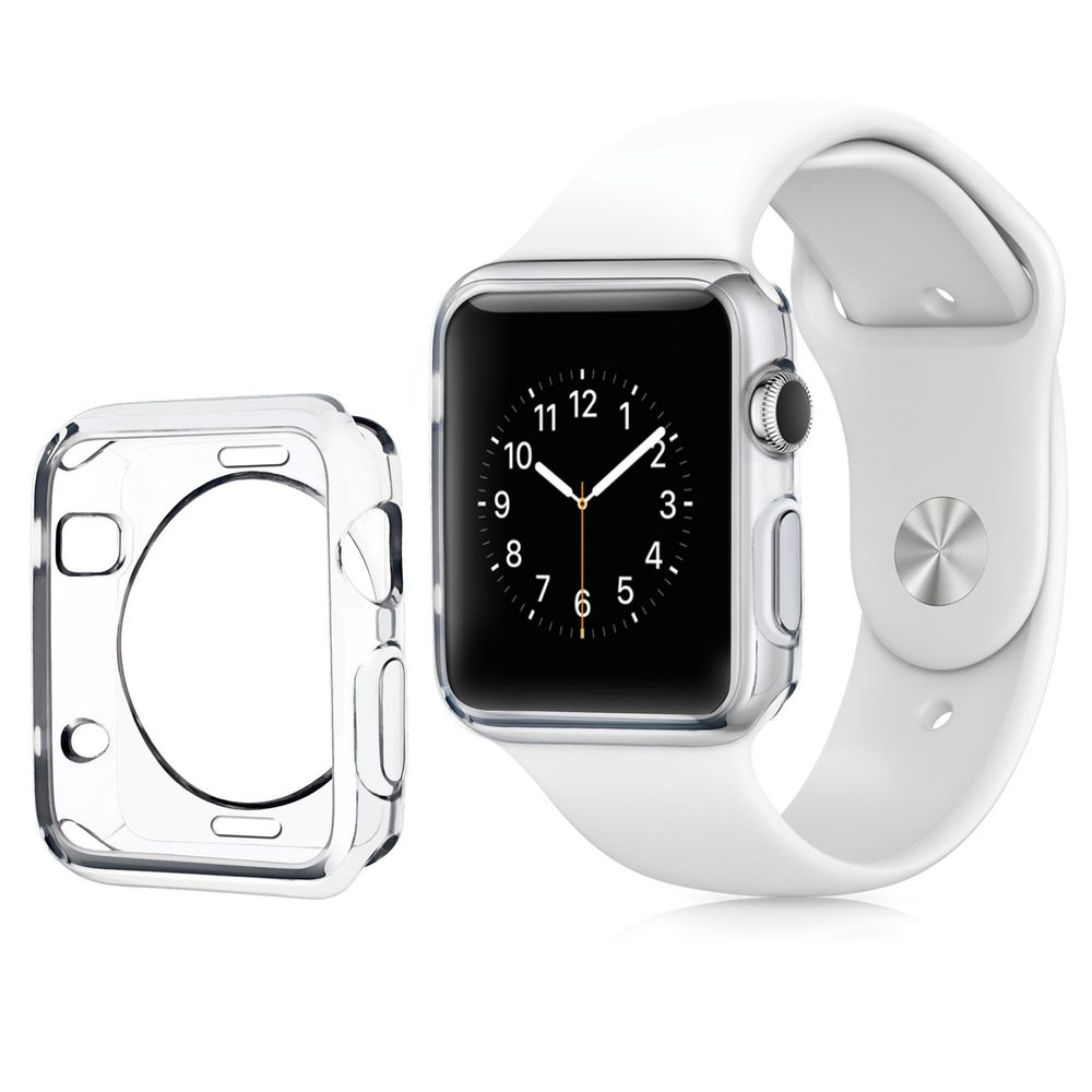 Insten For Apple Watch 42mm Series 1 Clear Rubber Gel Bumper Protective Case Transparent Ultra Thin, Shock Absorption