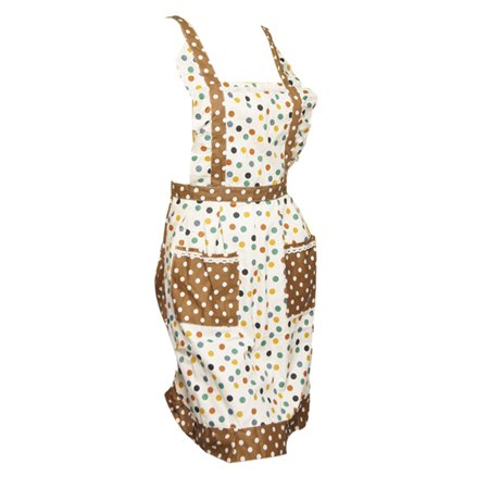 Dot Printed Double Layers Patch Pocket Kitchen Apron for Women - image 1 of 1