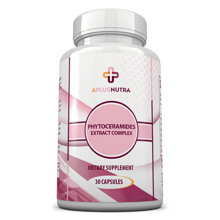 Phytoceramides Plant Derived From Rice For Skin  Hair   Cell Renewal With Vitamins A  C  D  E   Gluten Free   Vegan  30 Capsules  By A Plus Nutra