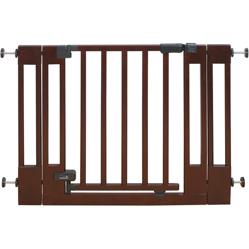 Summer Infant Sure & Secure Deluxe Top of Stairs Wooden Walk-Thru Gate, Cherry