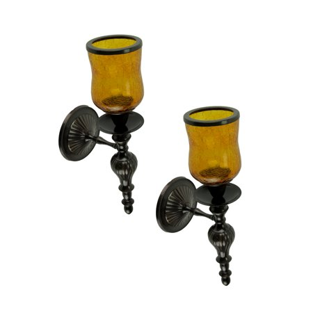 Amber Crackled Glass Hurricane Bronze Finish Votive Candle Wall Sconce Set of 2 ()