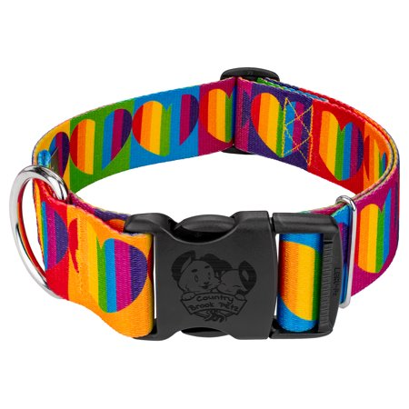 Country Brook Petz® 1 1/2 Inch Deluxe Rainbow Hearts Dog Collar - Rainbow Dog