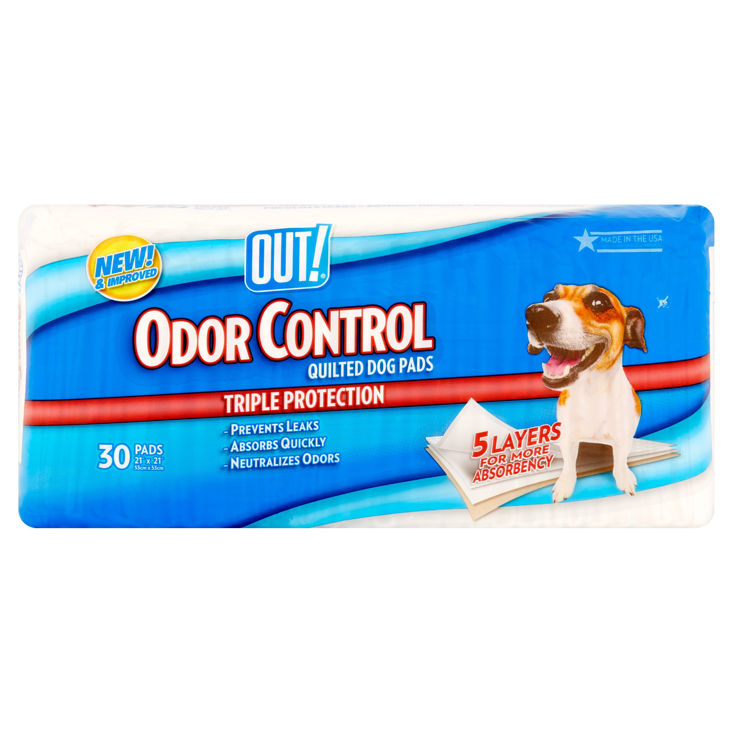 Out! Odor Control Quilted Dog Pads, 30 count