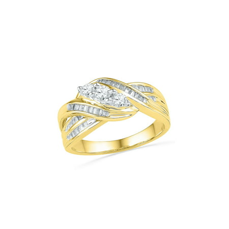 - 10kt Yellow Gold Womens Round Baguette Diamond 3-Stone Crossover Band Ring 1/2 Cttw