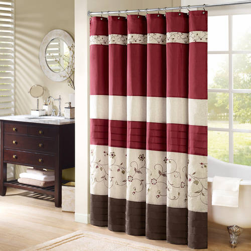 Monroe Embroidered Floral Shower Curtain Red