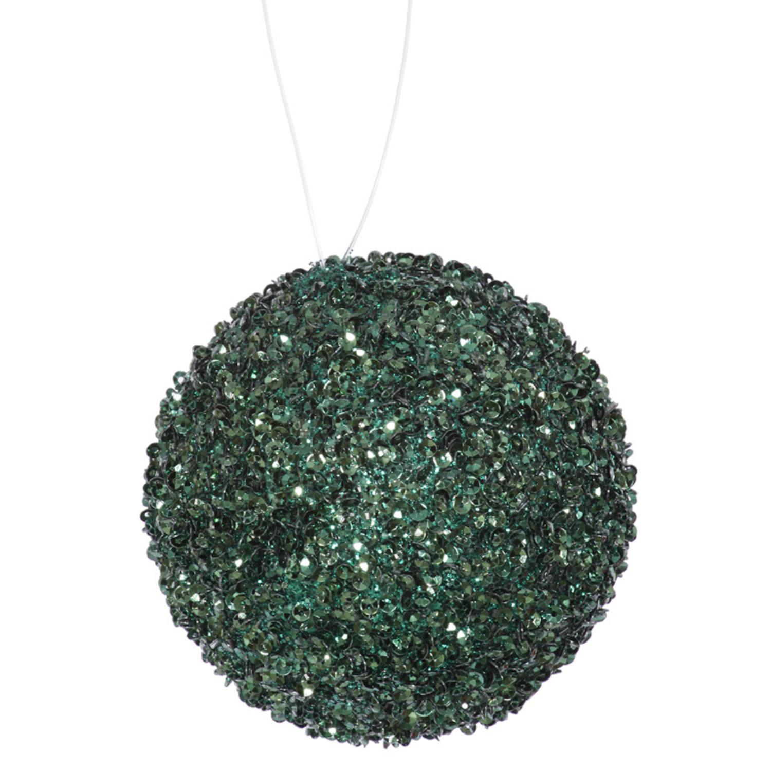"""Emerald Beaded and Sequin Christmas Ball Ornament 6"""" (150mm)"""