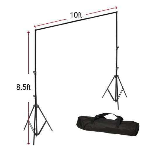 LimoStudio 600W Photo Studio Umbrella 3 Lighting Light Kit with 10 x 10 ft White & Black Photography Muslin Backdrop Background Support Kit with Carry Bag, LMS233