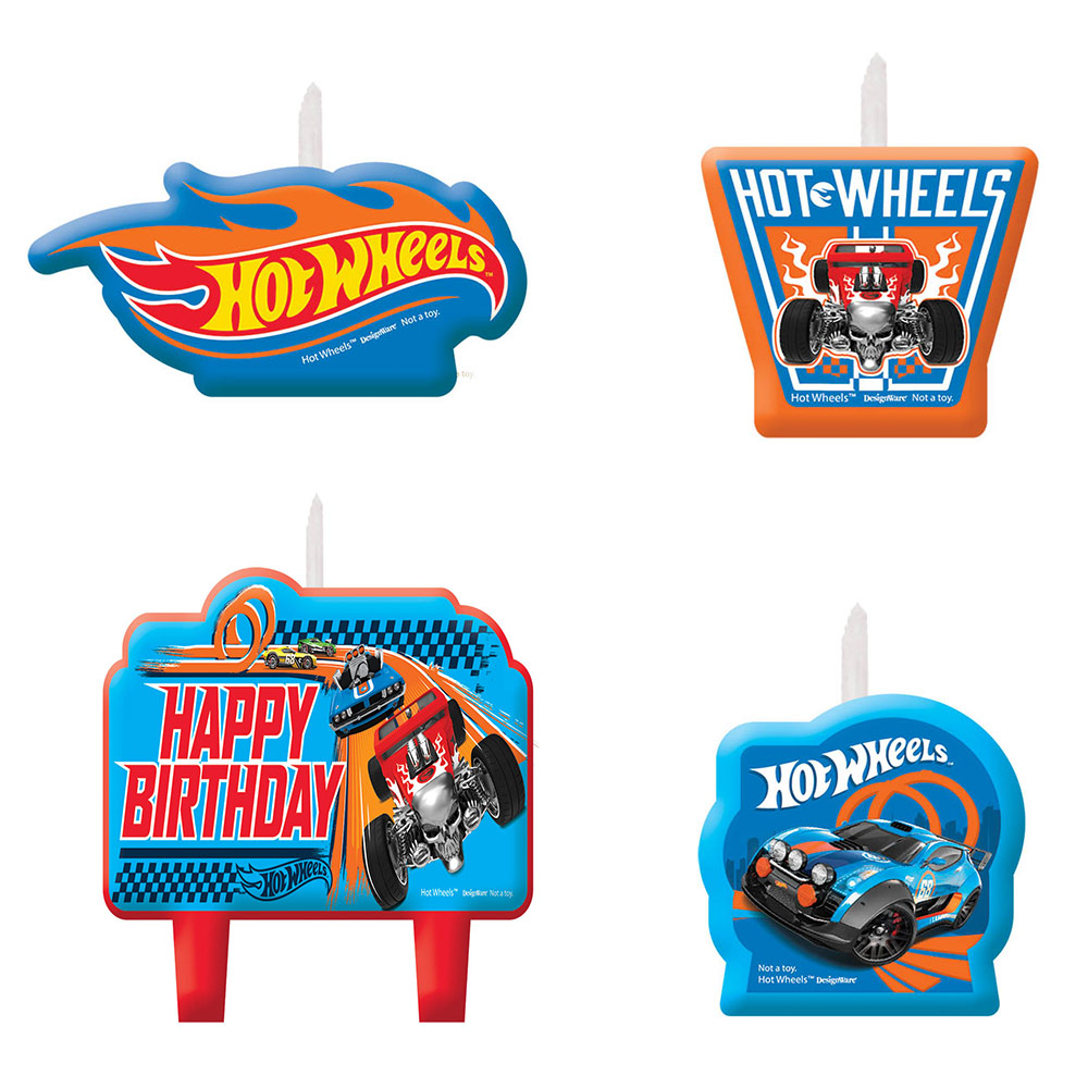 Hot Wheels Wild Racer Birthday Candle Set (Set of 4) - Party Supplies