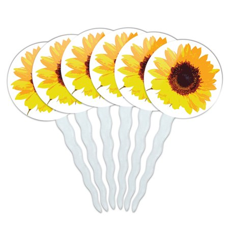 Sunflower Cupcake Toppers (Sunflower Shower Cupcake Picks Toppers - Set of)