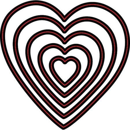 Die Cut Emboss Stencil Nesting Heart 5Pc By Darice ()