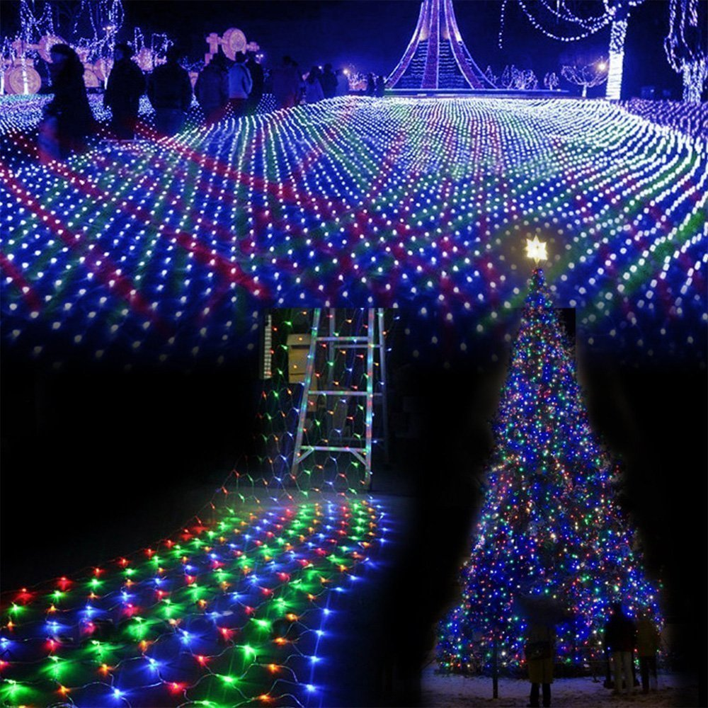 LED String Fairy Curtain Net Mesh Lights for Christmas Tree Outdoor Garden Party
