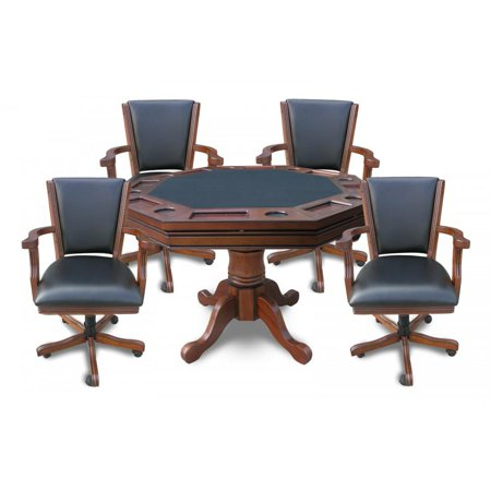 BlueWave POKER TABLES NG2366 Walnut Kingston 3-In-1 Poker Table w/ 4 Chairs ()
