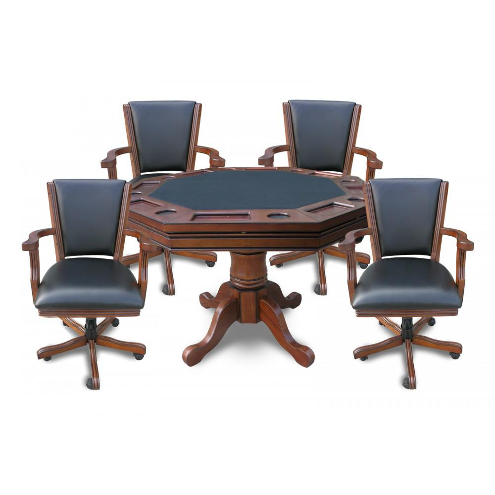 BlueWave POKER TABLES NG2366 Walnut Kingston 3-In-1 Poker Table w/ 4 Chairs