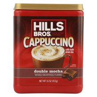(2 Pack) Hills Bros. Double Mocha Cappuccino Instant Coffee Powder Drink Mix, 16 Ounce Canister