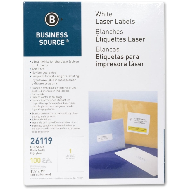 Business Source Mailing Labels, Full Sheet, Laser 8-1/2''x11'', 100 per Pack, White
