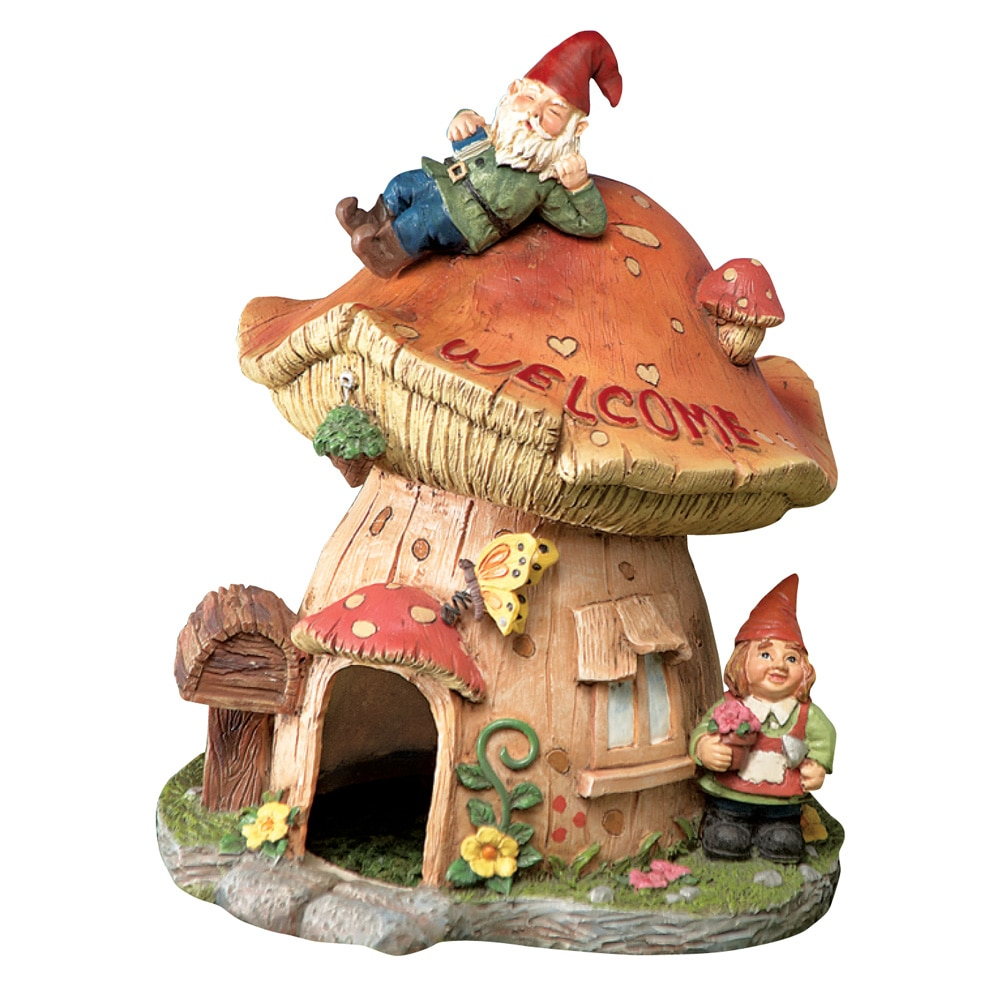 Mushroom Toad House Gnome Garden Decor, Beige
