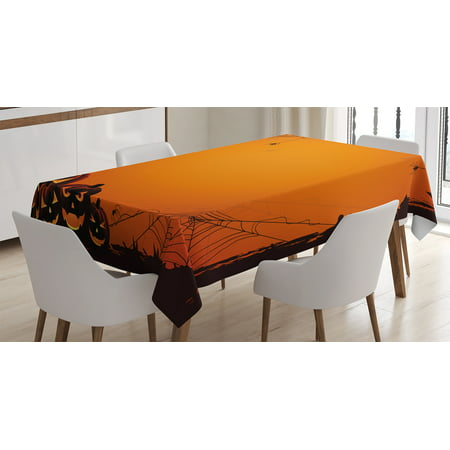 This Is Halloween Covers (Halloween Decorations Tablecloth, Grunge Spider Web Pumpkins Horror Time of Year Trick or Treat Decor, Rectangular Table Cover for Dining Room Kitchen, 60 X 90 Inches, Orange Black, by)