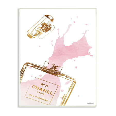 The Stupell Home Decor Collection Glam Perfume Bottle Splash Pink Gold Oversized Wall Plaque Art - Golf Decor
