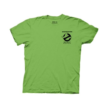 Ripple Junction Ghostbusters Adult Unisex Ghost Biz with Back Print Light Weight 100% Cotton Crew T-Shirt Electric Green