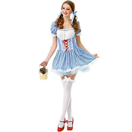 Boo! Inc. Kansas Belle Women's Halloween Costume Sexy Dorothy of Oz Blue Checkered Dress