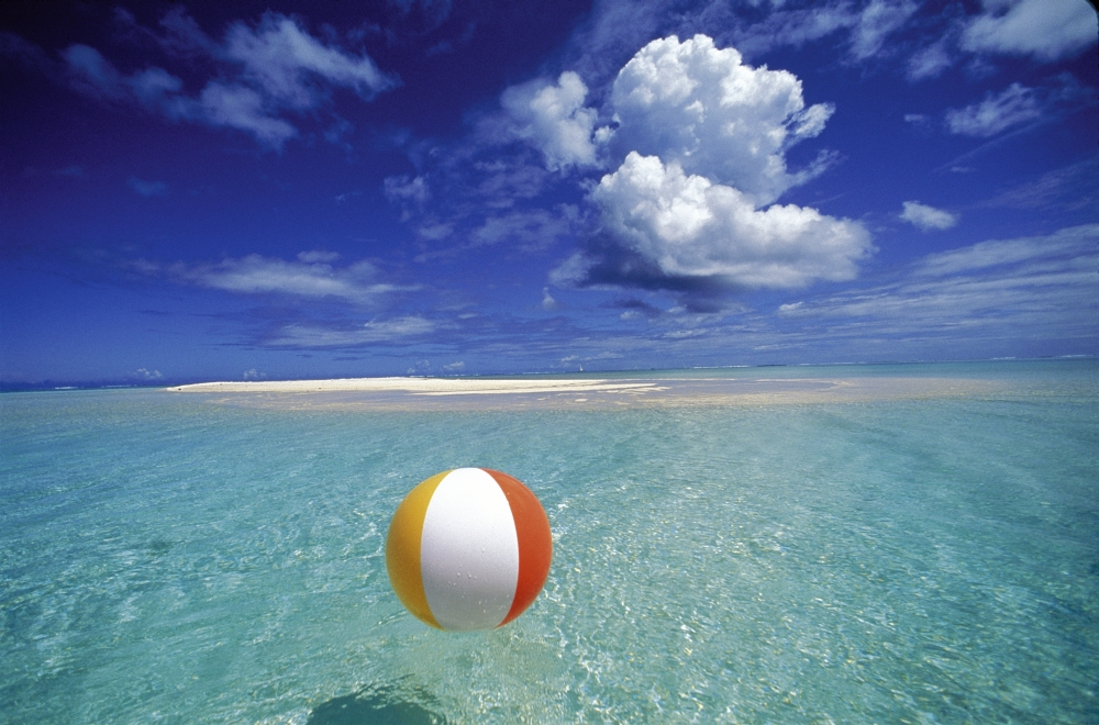 Beach ball in sand Sea French Polynesia Bora Bora Calm Ocean With Beach Ball Foreground Patch Of Sand Background Blue Sky Clouds Posterprint Walmartcom Dreamstimecom French Polynesia Bora Bora Calm Ocean With Beach Ball Foreground