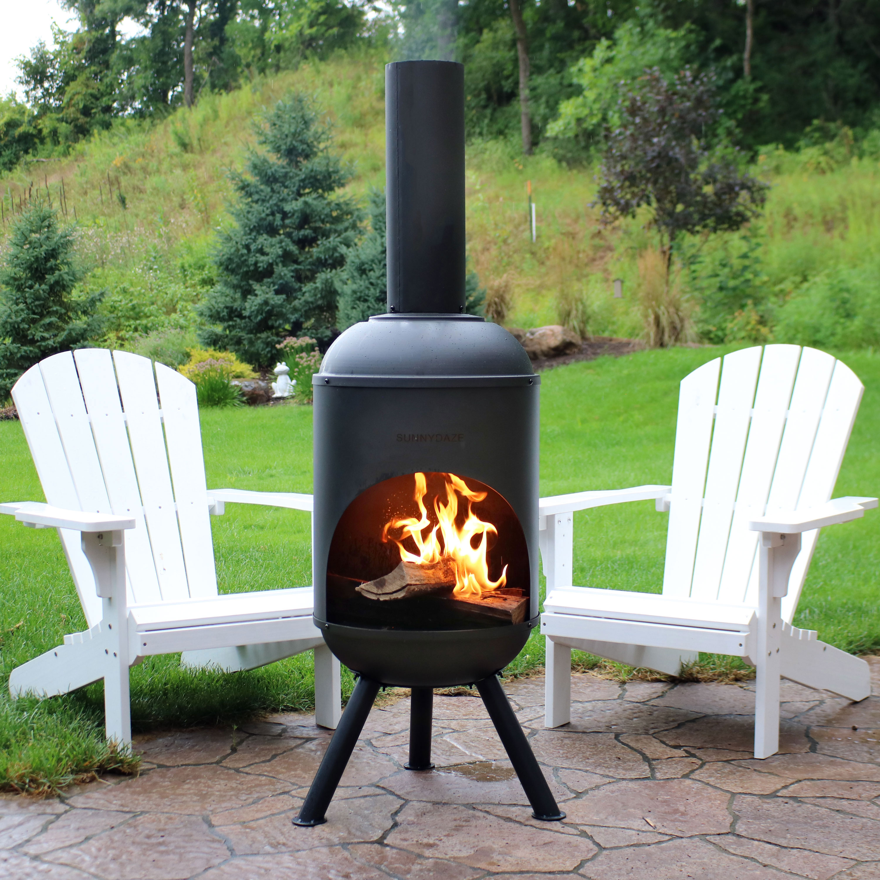 Sunnydaze Steel Outdoor Wood-Burning Chiminea Fire Pit, 5-Foot, Black