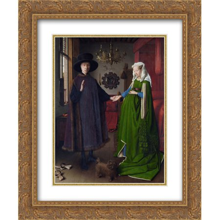 Jan van Eyck 2x Matted 20x24 Gold Ornate Framed Art Print 'The Arnolfini Wedding. The Portrait of Giovanni Arnolfini and his Wife Giovanna Cenami (The Arnolfini Marriage) (Giovanni Arnolfini And His Wife Giovanna Cenami)